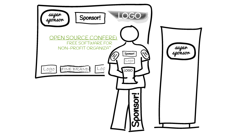 Sketch: Speaker in front of beamer screen, both cluttered with sponsor logos