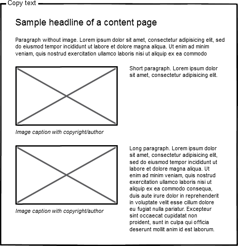 wireframe sample for alignments of text and image