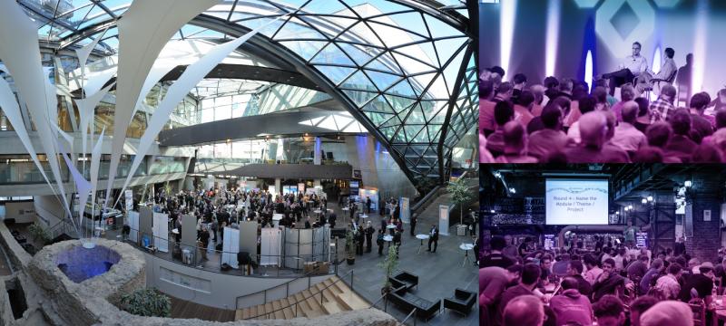 Fotocollage: Foyer Darmstadtium, Dries Buytaert auf der Bühne, Trivia-Night-Atmosphäre