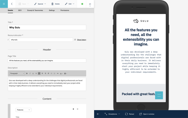 backend screenshot: content edit form with smartphone preview