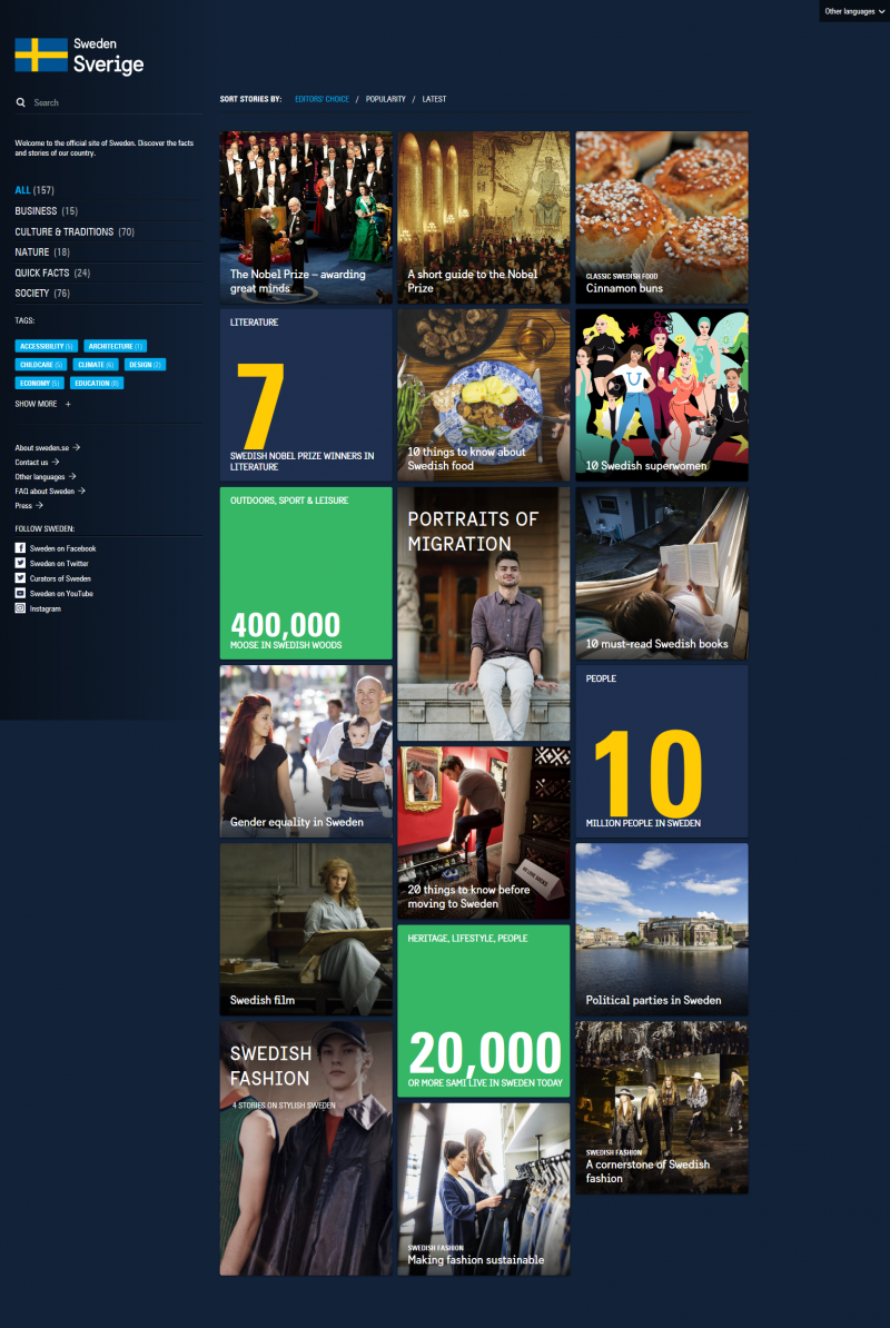 home page Sweden.se