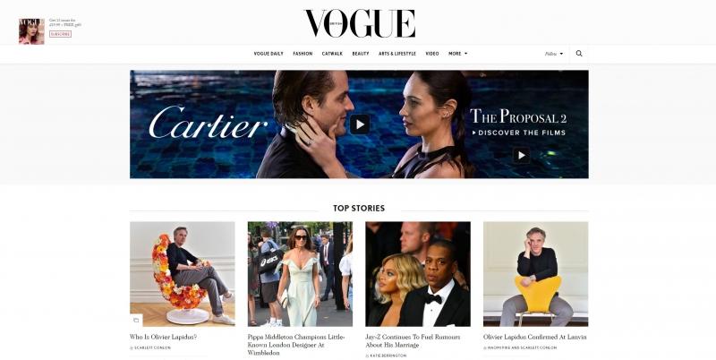 Startseite der britischen Vogue